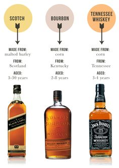 scotch vs. bourbon vs. TN whiskey guide. Know your #whiskey #Scotch #bourbon
