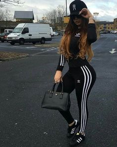 adidas black outfit and adidas shoes Swag Outfits, Mode Outfits, Sport Outfits, Trendy Outfits, Winter Outfits, Summer Outfits, Fashion Killa, Look Fashion, Teen Fashion