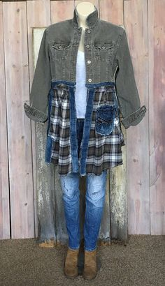 RESERVED FOR DIAN: Sage Weekend Jacket - Convo me to inquire about designing a custom art coat for you. Source by - Umgestaltete Shirts, Cut Up Shirts, Tie Dye Shirts, T Shirt Yarn, Cheer Shirts, Shirt Refashion, T Shirt Diy, Sewing Clothes, Diy Clothes