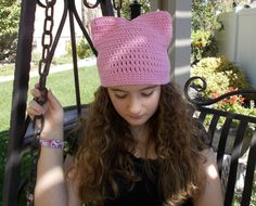 Pink Cat Ears Hat, Crochet Beanie with Ears, Cute Cat Ears, Hat with Ears, Gifts for Teen Girl, Tween Girl Gifts, Teenage Girl Gifts