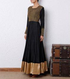 Black Anarkali Suit with Gold trim Black Anarkali, Anarkali Dress, Indian Attire, Indian Wear, Pakistani Outfits, Indian Outfits, Ethnic Fashion, Asian Fashion, Desi Clothes