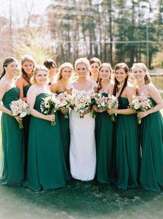 Emerald green dresses: http://www.stylemepretty.com/2015/05/25/elegant-emerald-gold-military-wedding/ | Photography: Graham Terhune - http://www.grahamterhune.com/
