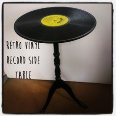 Retro Vinyl Record Side Table