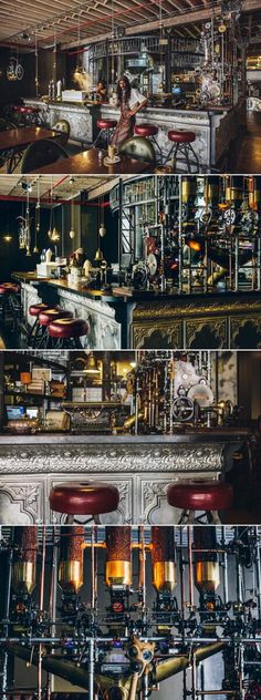 The Truth coffee shop, Cape Town, South Africa Pub Design, Restaurant Design, Restaurant Bar, Steampunk Cafe, Steampunk House, Steampunk Design, Home Coffee Machines, Steampunk Furniture, Café Bar