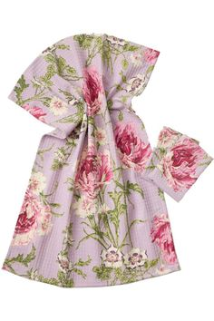 """Made in 100% honeycombed cotton and designed to coordinate with everything from tablecloths to aprons. The design is hand-screen printed on 100% cotton. It is machine washable and can be tumble dried on low and warm ironed as needed. Each towel is sold individually and measures 19"""" by 27"""".  Rose-Nouveau Tea Towel by April Cornell. Home & Gifts - Home Decor - Towels Boulder Colorado"""