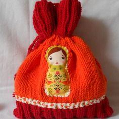 """Petit sac en coton """"rouge cerise et orange mandarine""""  tricoté main pour accessoires bébé"""