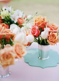 mint with coral roses.