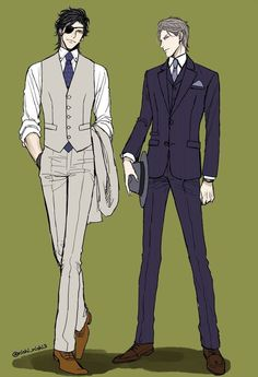 Two male models posed as if ready to go on an investigation (or somethng Focus: Clothing, color, simplicity, pose Suit Drawing, Drawing Poses, Handsome Anime Guys, Hot Anime Guys, Anime Suit, Anime Poses, Manga Boy, Drawing Clothes, Boy Art