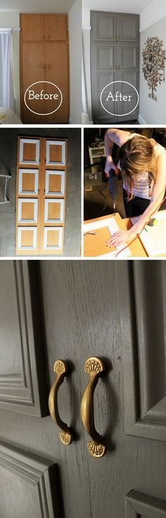 16 Easy DIY Door Projects for Amazing Home Decor on a Budget - how to make a - D.Y - 16 Easy DIY Door Projects for Amazing Home Decor on a Budget – how to make a closet door mak - Diy Simple, Easy Diy, Simple Crafts, Furniture Makeover, Diy Furniture, Furniture Plans, Cheap Home Decor, Diy Home Decor, Room Decor