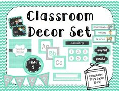 This super cute classroom decor set comes with class job cards, a class schedule, and so much more!