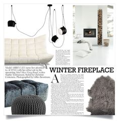 """""""Winter fireplace"""" by hafsahshead ❤ liked on Polyvore featuring interior, interiors, interior design, home, home decor, interior decorating, Bloomingville, Flos and CB2"""