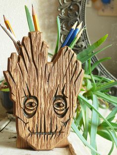 Wooden Groot Holder Hand Carved Groot holder Carved Groot