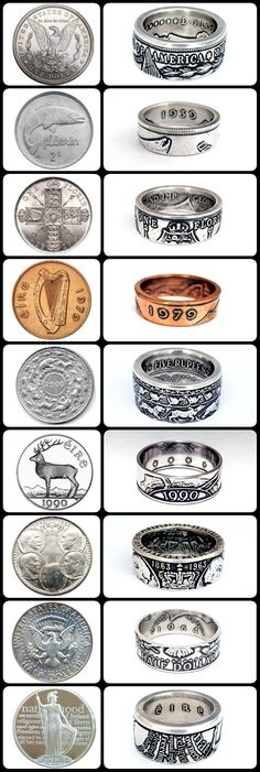 Handcrafted rings custom-made from vintage Irish and world coins. Coin Jewelry, Wire Jewelry, Jewelery, Ireland Souvenirs, Coin Crafts, Metal Jewelry Making, Diy Bracelets Easy, How To Make Rings, Coin Ring
