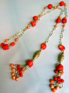 Shades of Coral Lariat Necklace $473 by designer Pia Cevallos