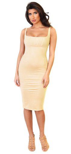 Nude Square Neck Faux Suede Midi Dress