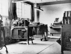 Code-breaking equipment at Bletchley Park, 1943. Alan Turing worked from Hut 8 in the grounds of the stately home, working specifically on breaking Naval Enigma.