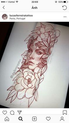 rosetattoo rosetattoodesign rose eyetattoo allseeingeye tattoo rosestattoo trian… rosetattoo rosetattoodesign rose eyetattoo allseeingeye tattoo rosestattoo triangletattoo This image has get. Girl Face Tattoo, Girl Face Drawing, Tattoo Girls, Girl Tattoos, Stencils Tatuagem, Tattoo Stencils, Rose Tattoos, Flower Tattoos, Black Tattoos
