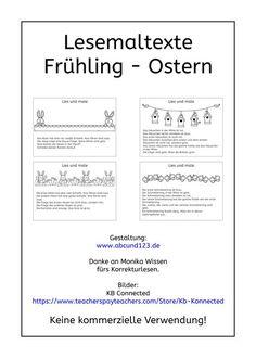 Kurze Lesemaltexte zum Frühling und zu Ostern, lesen, Lesematerial, Download, Legasthenie, Legasthenietraining, AFS-Methode