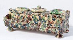 Écritoire Terre crème à glaçure polychrome très colorée: vert, bleu… – Fraysse