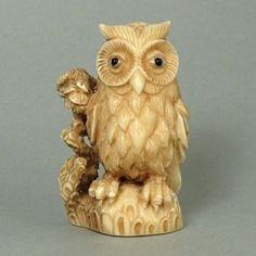 Hippo Ivory Tusk Netsuke Standing Owl Figurine Carving HN0488