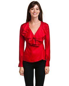 Elizabeth McKay Red Silk Wrap Blouse