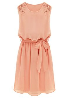 Peach Chiffon Dress with Pearl Embellished Shoulders