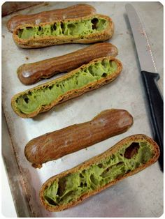 matcha eclairs (check oven after 45mins)