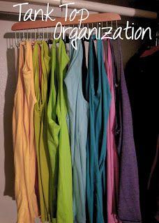 Purple Berry Bliss: Tank Top Storage (use a belt hanger) Tank Top Organization, Tank Top Storage, Closet Organization, Clothing Organization, Organization Ideas, Storage Ideas, Storage Solutions, Smart Storage, Organizing Tips