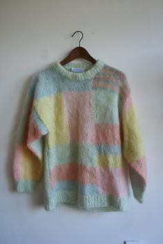 Hand Knit Mohair Block Print Pastel Sweater