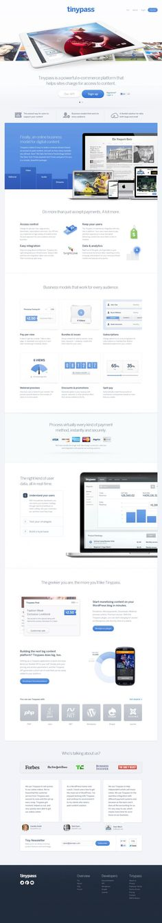 Tinypass - an e-commerce platform for controlling access to digital content - #Webdesign #inspiration www.niceoneilike.com