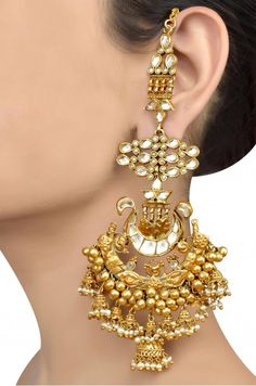 Silver Gold Plated Traditional Multi Jhumki Pearl Crystal Earrings