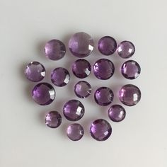 51 CT 18PC NATURAL AMETHYST ROUND BRIOLETTE CUT PURPLE LOOSE MIX LOT GEMSTONES  #ROUNDSNROSES Amethyst Quartz, Gemstones, Purple, Natural, Gems, Jewels, Minerals, Nature, Viola