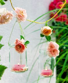 Bud vase garland. Down the stairway on patio/deck?  Or along the upper deck rail?