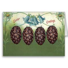 Easter Egg Daisy Bell Flower Purple Cards