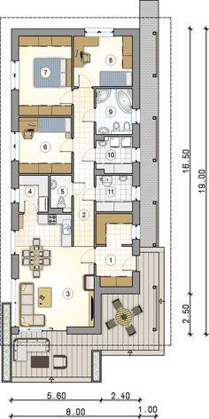 Parterowy dom na wąską działkę z wjazdem od południa - Studio Atrium 2bhk House Plan, House Layout Plans, House Layouts, Architectural Floor Plans, Apartment Floor Plans, Home Board, Tiny House Movement, Dream House Exterior, Home Studio