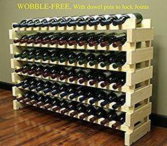 Stackable 72 Bottles Holder Wine Rack Stackable Storage 6 Tier Solid Wood Display Shelves, Wobble-Free, WN84