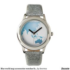 Blue world map accessories watches for her. Via @ha