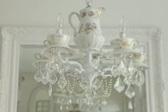 Shabbyfufu Antique French Limoges China Teacup Chandelier