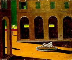 Italian Piazza via Giorgio de Chirico Medium: oil, canvas Max Ernst, Magritte, Italian Painters, Italian Artist, Art Sur Toile, Oil Canvas, Miro, Dali, Art Database