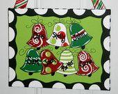 Christmas Bells Ornament Painting on Canvas Hand Painted Art Door Hanger