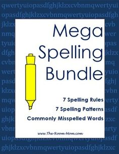 Spelling bundle with lists, activities, tests, and answer keys for 7 common spelling rules, 7 common spelling patterns, and 14 commonly misspelled word sets (like their, there, they're).