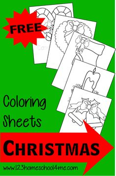 FREE Christmas Coloring Sheets for toddlers, preschool, and kindergarten - great kids activity for December