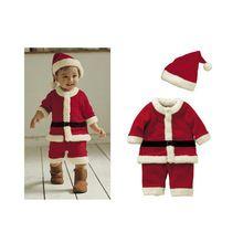 1-3-year bambino di natale babbo natale vestiti 4 sets cappello, vestiti, pantaloni, cintura, decorazione di nuovo anno vestiti per neonati xmas natale(China (Mainland))