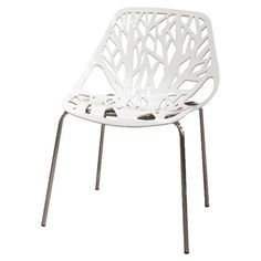 Side chair with a branching, organic-style back paired with stainless steel legs.   Product: Set of 2 chairsConstruction...
