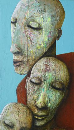 The impromptu relief in the work of Sylvain Coulombe gives both strength and depth to his colorful and disfigured characters. Abstract Face Art, Abstract Portrait, Figure Painting, Painting & Drawing, L'art Du Portrait, Art Visage, Art Sculpture, Expressive Art, Unusual Art