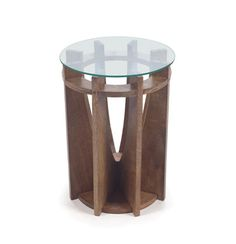 The Kindle Occasional Table with Round Glass Top on Wood Base is a wonderful addition to your home. Dimensions: H x Dia. Material: Wood and Glass Craftsman Interior, Small Living Room Design, Wood Glass, Dot And Bo, End Tables, Occasional Tables, Coffee Tables, Contemporary Furniture, Kindle