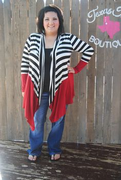 Black and Red Striped Open Cardigan Plus (XL-3XL) 2XL
