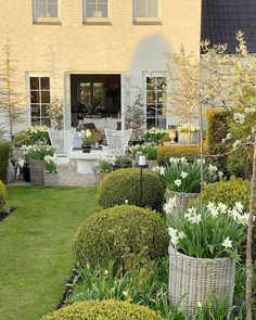 Outdoor Living and Furnishings You'll Love Inside or Out! Garden Seating, Terrace Garden, Outdoor Living Areas, Outdoor Spaces, Living Spaces, Beautiful Landscapes, Beautiful Gardens, Savannah Gardens, Outdoor Wicker Chairs