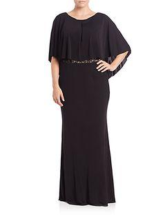 ABS, Plus Size - Lace-Back Cape Gown