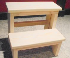 Handcrafted Pine Step Stool, Unfinished